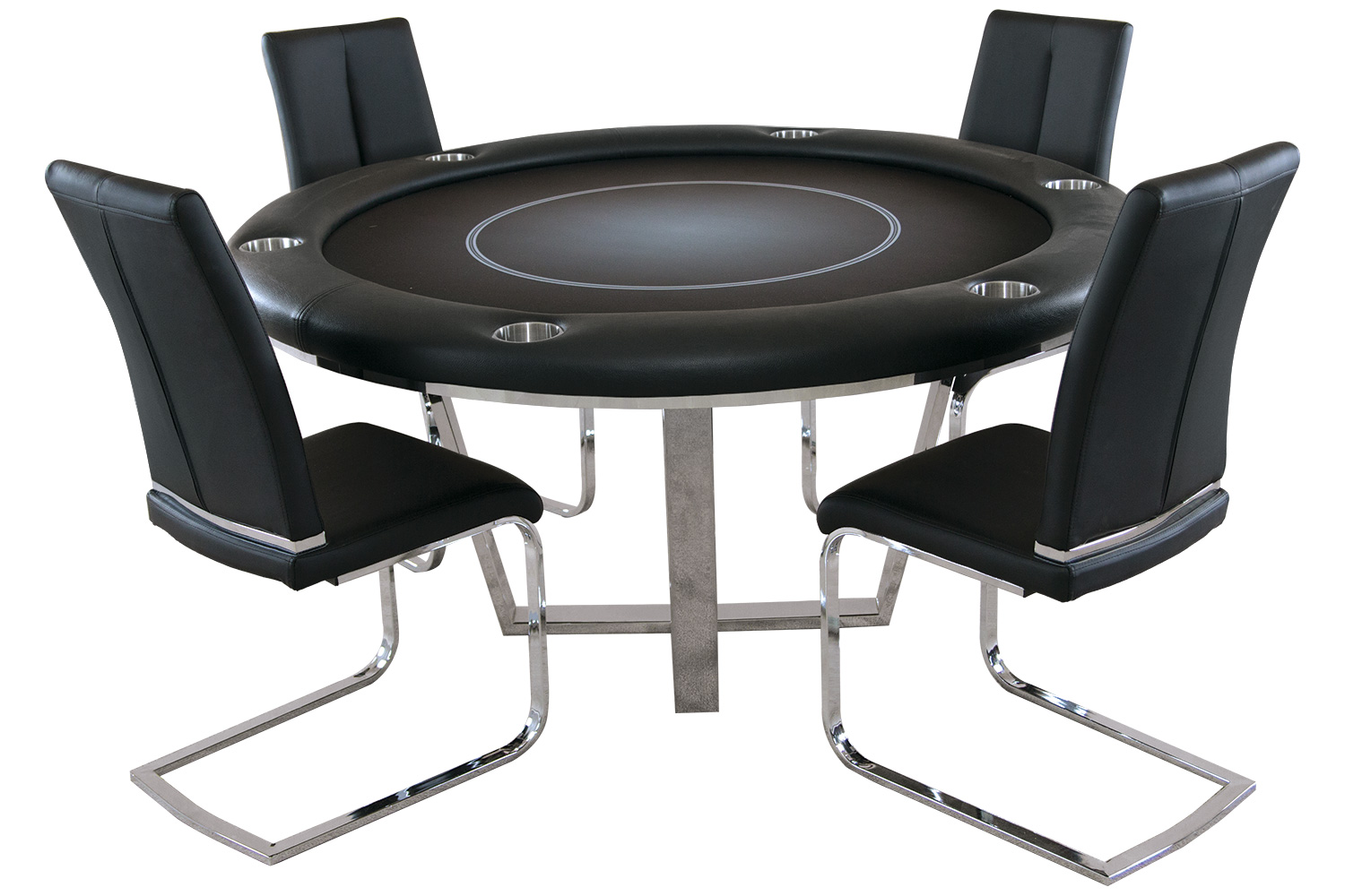 Manetho Round Poker Table with 4 matching chairs
