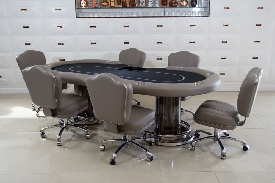 Competition Texas Hold 'em Poker Table With 6 Matching Chairs